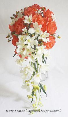 Coral/orange white offwhite ivory cascade by SharonNagassarDesign