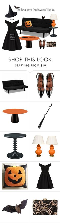"""Little Black Dress"" by glasspaperscizzors ❤ liked on Polyvore featuring RED Valentino, Powell, Robert Allen, Pier 1 Imports, Chi Chi and Love Moschino"