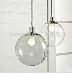 Modern brief fashion transparent clear glass ball restaurant lamp bar pendant…