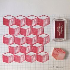 tampon+gomme+cube+vasarely / sabelle Kessedjian