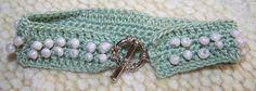 Handmade Crochet Green Bracelet w/ Cream Beads w/ Pretty Round Toggle Clasp by TXGulfCoastCreations, $24.99