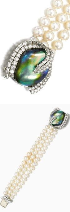 ABALONE, CULTURED PEARL, AND DIAMOND BRACELET Designed as three rows of cultured pearls on a clasp set with an abalone pearl, highlighted with brilliant-cut and baguette diamonds, numbered, French assay and maker's marks for Cartier.