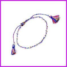 Thin Cotton Bracelet Korean Style Acrylic Beads Friendship Bracelets with Fringing