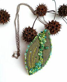 Leaf unique fiber art necklace in green tones by Cesart64 on Etsy