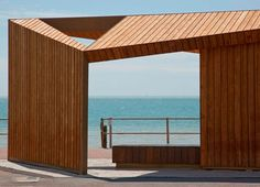 Bexhill Beach Shelters by Duggan Morris Architects Ltd in Bexhill, United Kingdom Wooden Architecture, Pavilion Architecture, Duggan Morris, Gazebo, Pergola, Wooden Cladding, Villa, Building A New Home, Construction