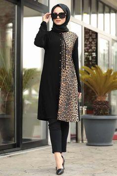 Women's Leopard Pattern Black Modest Tunic – Hijab Fashion Modern Hijab Fashion, Modest Fashion, Fashion Dresses, Hijab Stile, Moslem Fashion, Look Formal, Islamic Clothing, Office Looks, Muslim Women