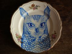 Blue Owl 1 Hand Painted Plate by FoxComet on Etsy, £70.00
