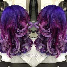 Purple To Lavender Color Melt Hair Color And Cut, Cool Hair Color, Hair Colors, Funky Hairstyles, Pretty Hairstyles, Updo Hairstyle, Hairdos, Bride Hairstyles, Hairstyle Ideas