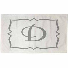Thumbprintz Silver Script Monogram Rug, White