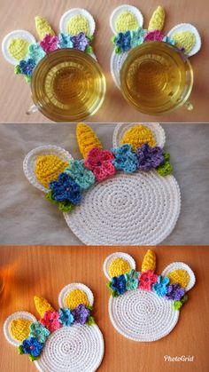 Do you use coasters? And do you prefer crocheted or wooden coasters? I like to crochet coasters because so I can make any coasters I like ( I mean such shape, color and style I like). And today I want to share with you my Unicorn Coaster crochet pattern. Crochet Kitchen, Crochet Home, Crochet Gifts, Free Crochet, Knit Crochet, Easy Crochet, Crochet Mandala, Knitting Patterns, Crochet Motif