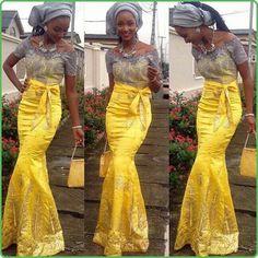 Yellow gray Nigerian wedding dress bride gele