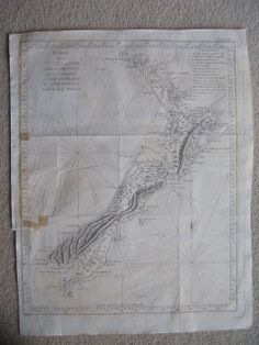 Captain Cook chart of New Zealand. French edition of Hawkesworth. A copperplate engraving by Benard. 535 x 445 mm Antique Maps, Antique Prints, Alice Liddell, Kiwi, Alice In Wonderland, Banks, New Zealand, Joseph, Vintage World Maps