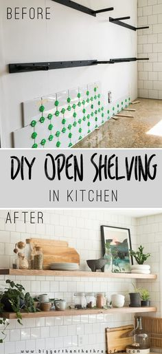 DIY open shelving kitchen guide includes all about heavy duty floating shelf hardware, how to mount floating shelves, how to hang floating shelves on drywall and what I think about my wood kitchen shelves 3+ years later!