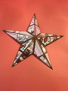 Photo Collage Star. A lot of work to trace out the shapes I'd imagine, but the end result is stunning. Would make a lovely Christmas decoration with Christmas Designer Series Paper and holiday family photos.