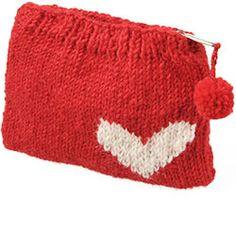 Knit Heart Coin Purse