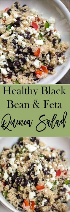 qqHealthy Black Bean and Feta Quinoa Salad - an easy side dish recipe that you can throw together in about 5 minutes.