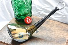 Golf Clubs Vintage Vintage 7 wood repurposed into a bottle opener. Golf Club Crafts, Golf Club Art, Golf Art, Blue Wood Stain, Golf Club Reviews, Vintage Golf Clubs, Golf Chipping Tips, Best Golf Clubs, Golf Simulators