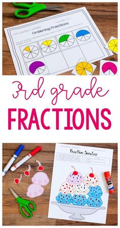 Third Grade Fractions - Ashleigh's Education JourneyGet great ideas for teaching third grade fractions. Includes lessons for a Fraction Sundae! 3rd Grade Fractions, Teaching Fractions, Math Fractions, Grade 3 Math, Third Grade Math Games, Dividing Fractions, Equivalent Fractions, Multiplication Strategies, Fraction Activities