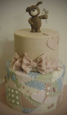 Beautiful patchwork cake by Shereen's  Cakes & Bakes - just adorable!