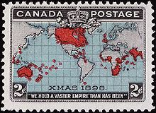 """""""In 1898, Canada issued an interesting stamp depicting a map of the entire world, with British possessions marked in red, inscribed """"XMAS 1898"""" (the rate took effect on Christmas Day), and """"WE HOLD A VASTER EMPIRE THAN HAS BEEN"""" underneath, a line extracted from """"A Song of Empire"""" composed by Sir Lewis Morris in 1887. The stamp was notable as the first multi-colour stamp of Canada, and also for the tremendous variability of the red highlighting, resulting in amusing geographical…"""