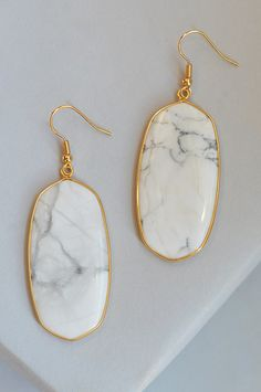 """Kelly drops- howlite; white marble drop earring with gold trim, 2 3/4"""" by 1"""" earring with gold fishhook, subtle drop dangle earring, lightweight everyday dangle earring, timeless marble & gold dangle earring, drop earring"""