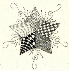 zentangled star by long village lettering, via Flickr