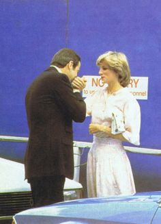 1983-06-10 Diana and former King Constantine of Greece at St Mary's Hospital in Paddington