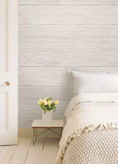 If you& always dreamt of having a white wood feature wall, this is the perfect wallpaper for you. The shiplap design has an aged appearance with subtle distre Wallpaper Bedroom, Master Bedroom Wallpaper, Feature Wall Bedroom, Home Decor, Bedroom Paint, Bedroom Wall, Remodel Bedroom, Bedroom, New Room