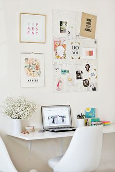 Home Office - flowers on desk, artwork on wall, simple