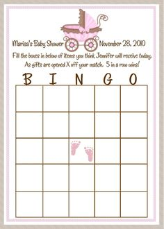 Brown and Pink Baby Shower Bingo Cards
