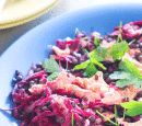 Lentils with beetroot & smoked salmon