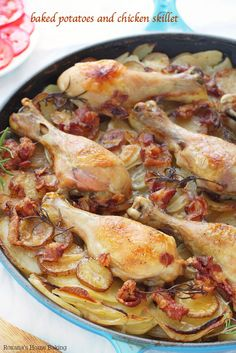 Tender chicken drumsticks cooked on top of layers of thin sliced potatoes and onions. Made this for Valentine's dinner. Very flavorful, simply delicious. Boys loved it! I only put in 1 cup of chicken broth but at the end of cooking there was a lot of liquid in the dish. I will have to cut it to 1/2 cup, if not less. Will make again!