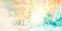 Jesus à direita do trono majestoso de Jeová, com anjos ao redor