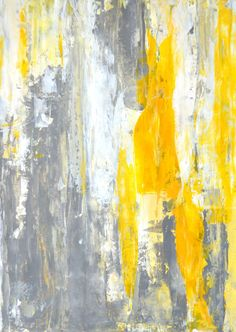 Acrylic Abstract Art Painting Grey, Yellow and White - Modern, Contemporary, Squares, Original 9 x 12