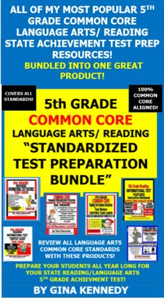 BUNDLED!!! ALL OF MY BEST SELLING 5TH GRADE COMMON CORE LANGUAGE ARTS/ READING TEST PREP RESOURCES IN ONE GREAT PRODUCT! From interactive notebooks, task cards to practice passages, you won't be disappointed with these language arts/reading 5th Grade Common Core resources!  Review all year long with these 5th Grade Language Arts/ Reading Common Core products. 100% Common Core Aligned! Student Tested and Teacher Approved!
