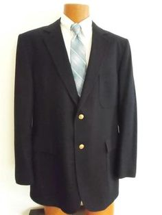 Vintage Marc Richards Classic Navy 100% Wool~Gold Crested Buttons Sportcoat Blazer 42R -- Sharp and Versatile!!