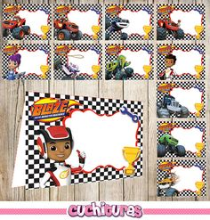 24 Blaze and The Monster Machines Food Tent Cards instant
