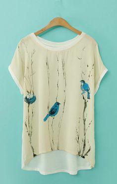 Birds Printing High-low Hem Casual T-shirt