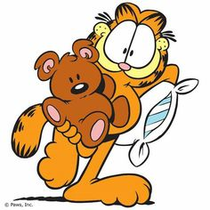 Garfield- ready for sleep over with pooky. Garfield Cartoon, Garfield Comics, Garfield Quotes, Garfield And Odie, Cartoon Shows, Cartoon Characters, Cartoon Pics, Garfield Wallpaper, Comic Cat