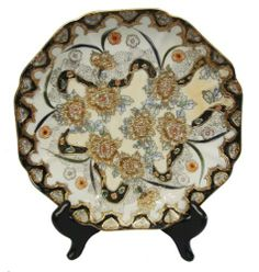 Decorative Chinese hand painted porcelain plate, scalloped edge with gold filigree work- Flowers and ribbon by Reorient. $9.99