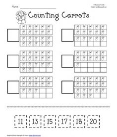 """Free """"Counting Carrots"""" Ten Frame Worksheet"""