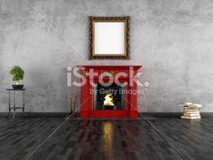 vintage room with fireplace Lizenzfreies Foto
