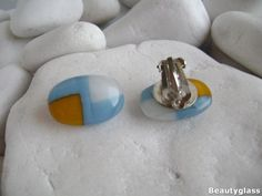 Cool clip on earrings from whiteyellow&blue opal glass Fused Glass Earrings, Clip On Earrings, Blue Opal, Fused Glass, Steel, Cool Stuff, Yellow, Handmade, Etsy