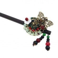 Handwork Jade Flower Hairpin Bobby pin Clip Tassels for Updo Hanfu Kimono Sa X
