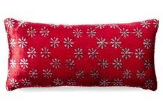 Daisy 7x15 Velvet Pillow, Red