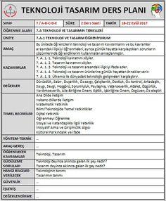 Teknoloji Tasarım Ders Planı Örneği - BAKİ KARAKOÇ .COM