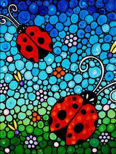 ladybug ladybugs red black floral abstract flower flowers flower garden blue sky…