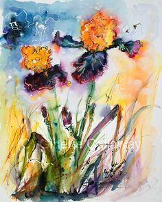 #Bearded #Irises Vigilante #Watercolor Painting by Ginette