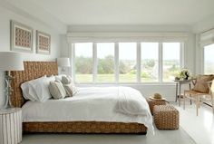 Coastal bedroom with sorrento seagrass bed.... http://www.completely-coastal.com/2017/02/neutral-white-beige-coastal-bedrooms.html