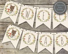 Woodland baby shower banner, Welcome Baby banner, printable banner, woodland baby shower decor, baby shower decorations Baby Banners, Shower Banners, Happy Birthday Banners, Welcome Baby Banner, Woodland Baby, Woodland Theme, Baby Shower Invitaciones, Printable Banner, Printables